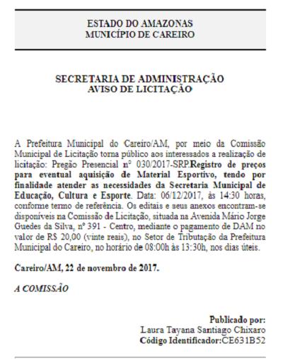 9251c794e9 Conforme edital abaixo a Prefeitura do Careiro realizará licitação para a  compra de materiais esportivos veja no Edital a baixo